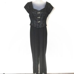 Hampton Nights Vintage Silver & Black Jumpsuit sz8